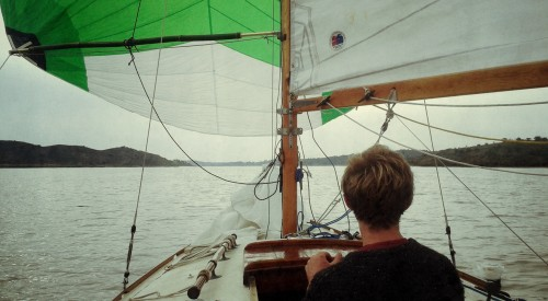 Varnished hatch, new spinnaker, and new bamboo pole!